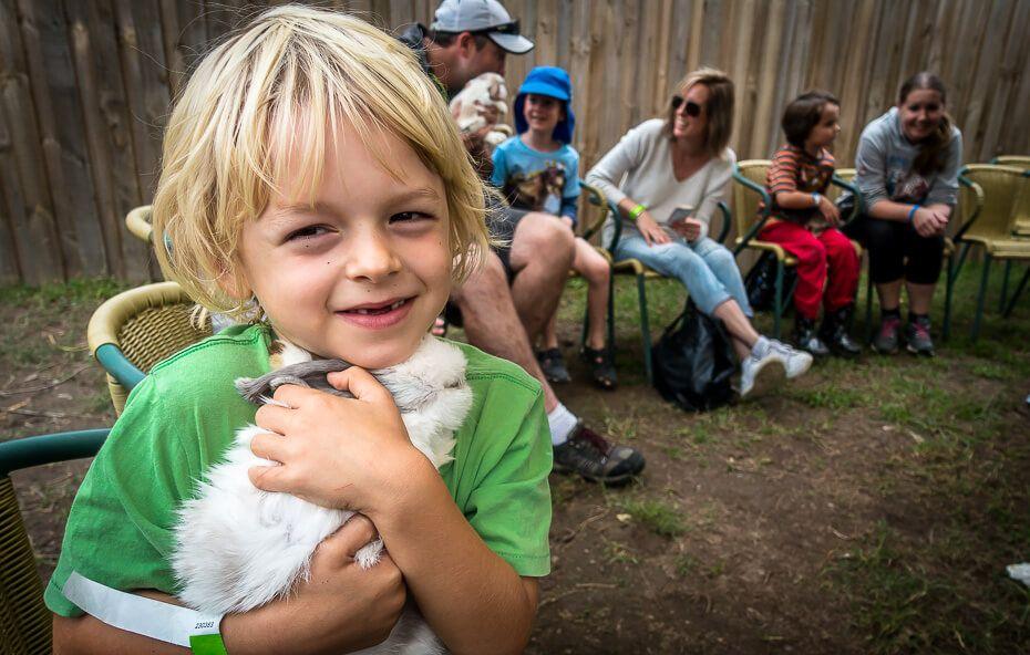 Cuddling a bunny at Bunny Burrow