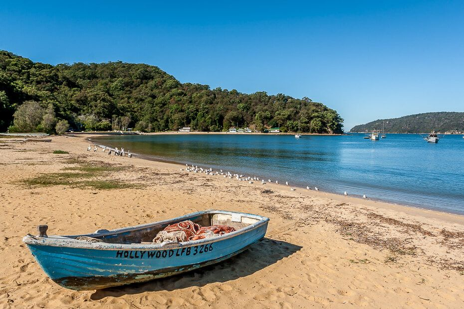 boat on the sand at Patonga