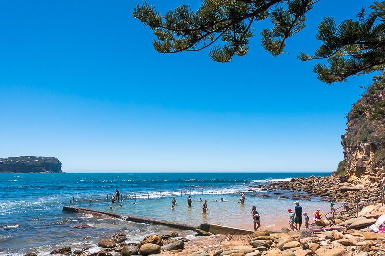 Macmasters Beach - families swimming in the ocean pool