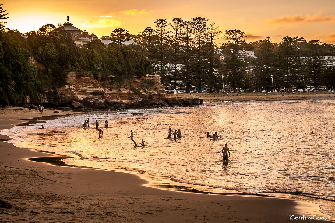 Terrigal Haven - swimming at sunset