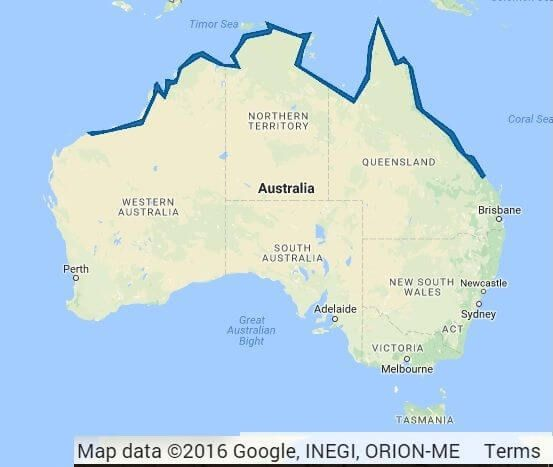 Map - distribution of the box jellyfish in Australia