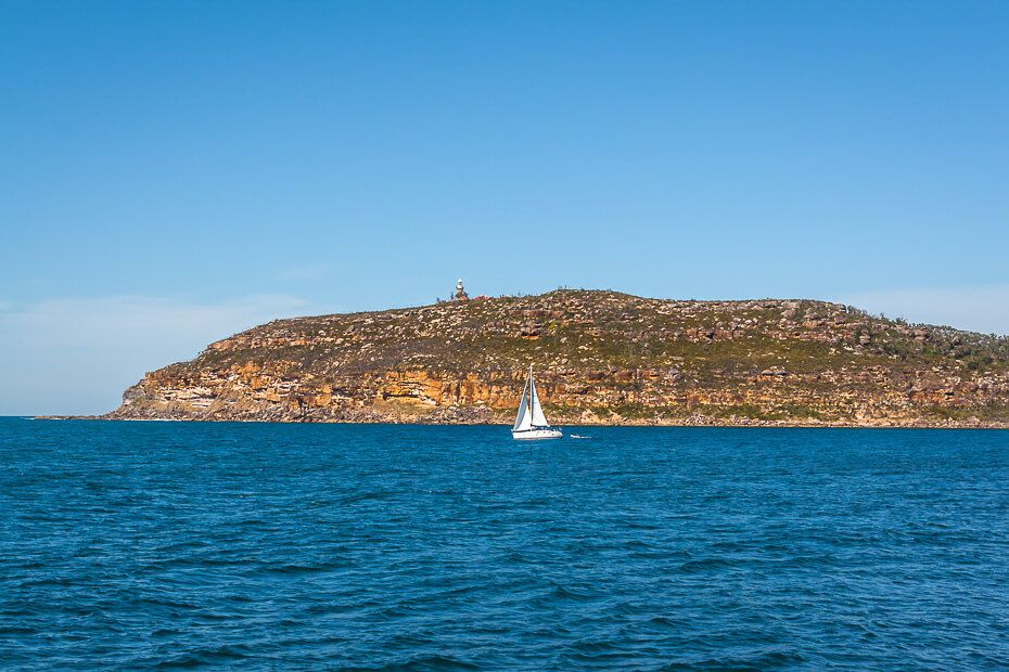 View of Barrenjoey Lighthouse from Broken Bay.