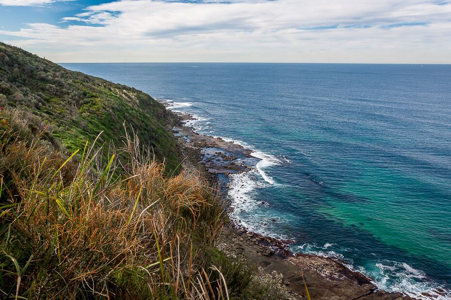 Coastal views from the topcliff on The Coast walking track in Wyrrabalong National Park