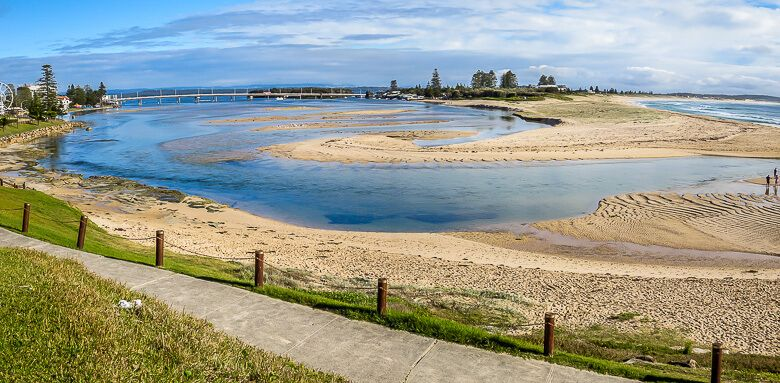 Panoramic view of The Entrance channel and Tuggerah Beach.
