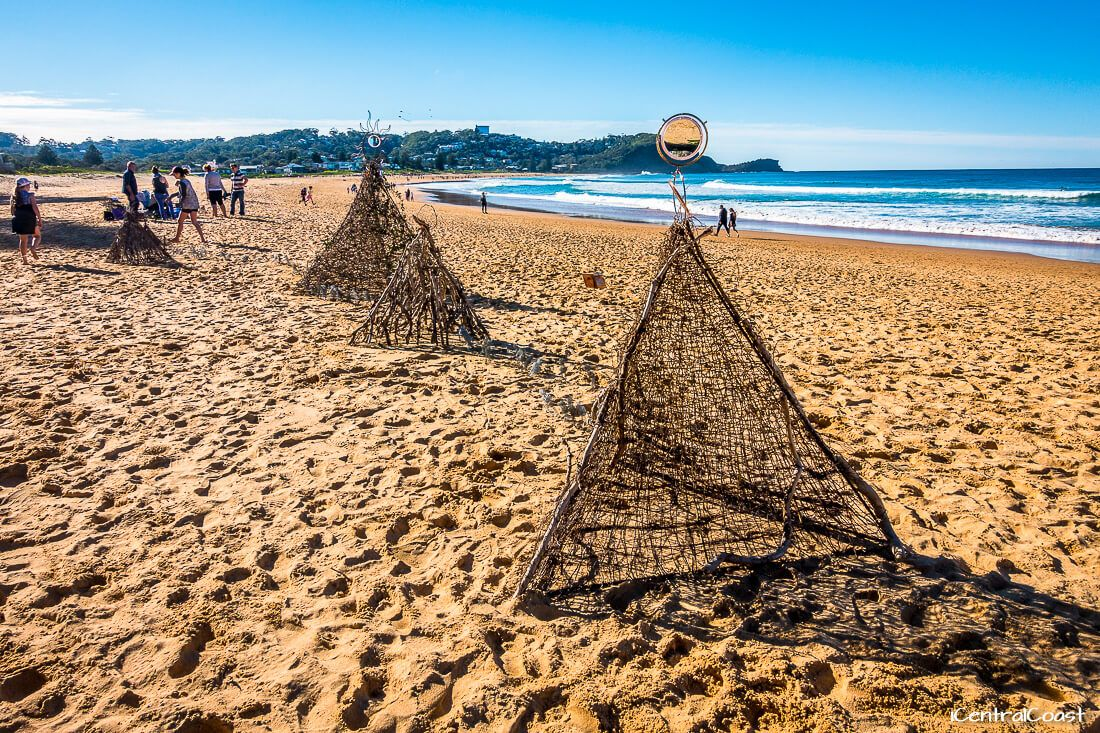 Sculptures on the beach at Avoca Beach