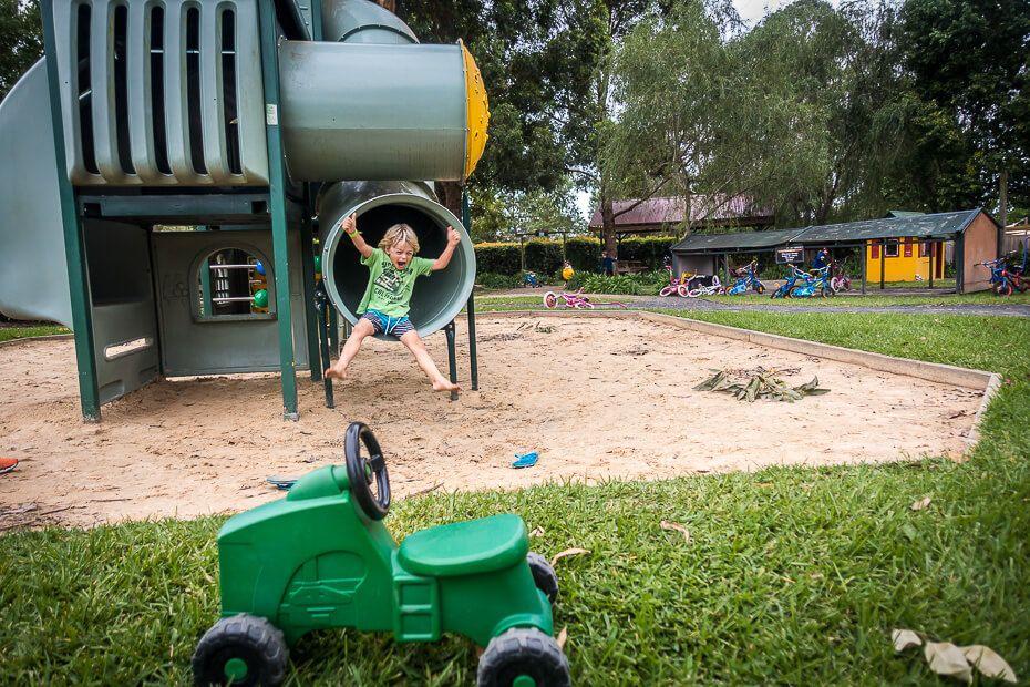 Sliding at the playground