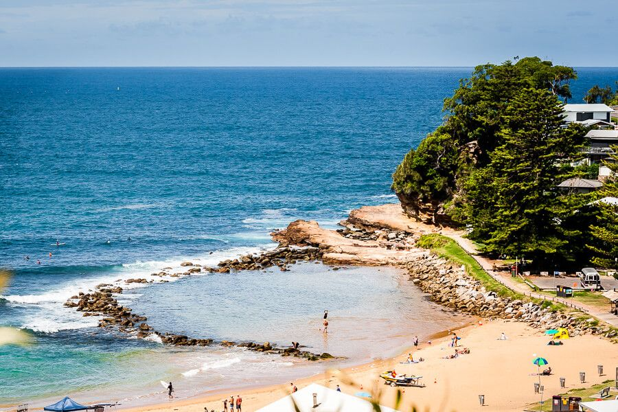 View of the rockpool at Avoca Beach from the lookout