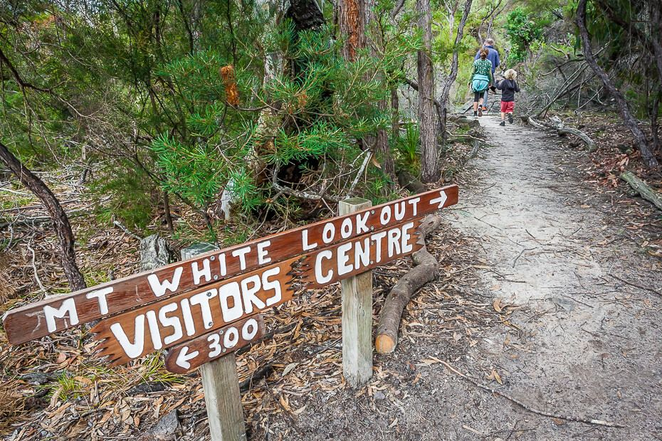 Mt White Lokout and Visitors Centre sign