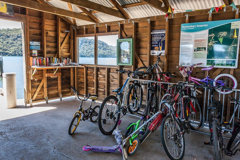 Dangar Island ferry wharf - bicycles