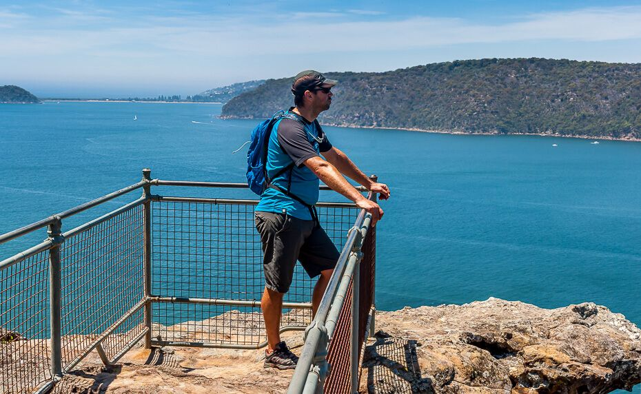 Admiring the view over Broken Bay from Warrah Lookout.
