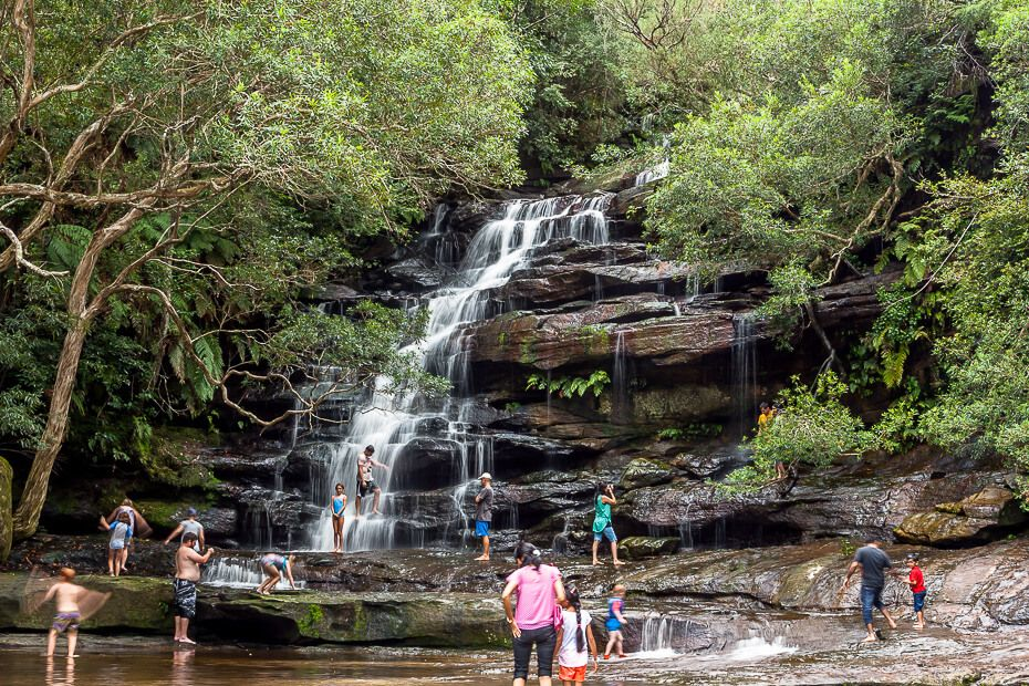 Somersby Falls Top Waterfall people visiting