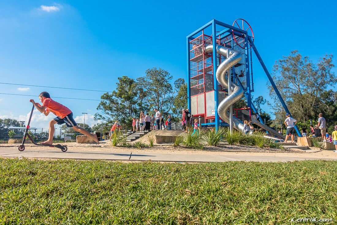 Climbing tower and spiral slide