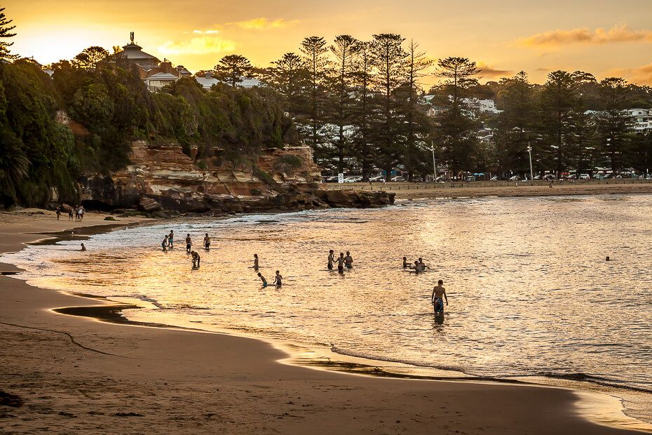 Terrigal Haven - swimming at the beach at sunset