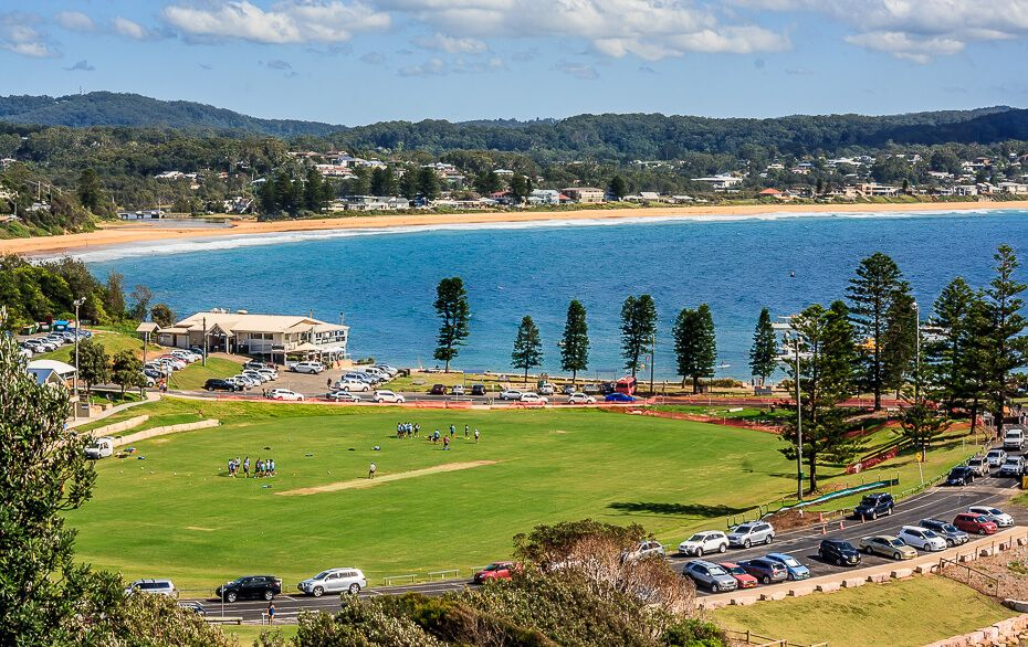 view of Terrigal and Wamberal from the top of the Skillion