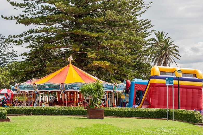 Jumping castle and carousel at The Entrance