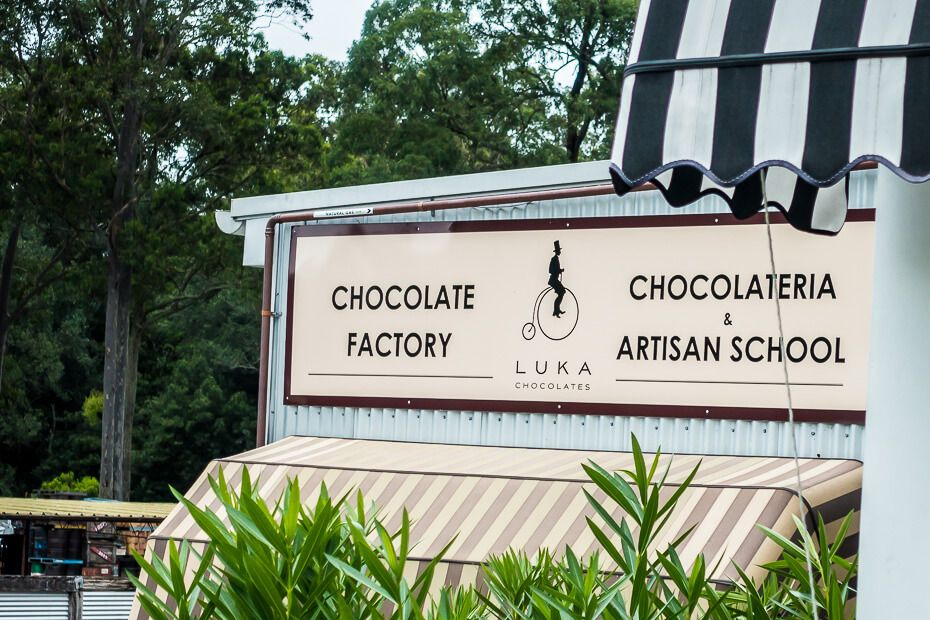 Luka Chocolate Factory sign.