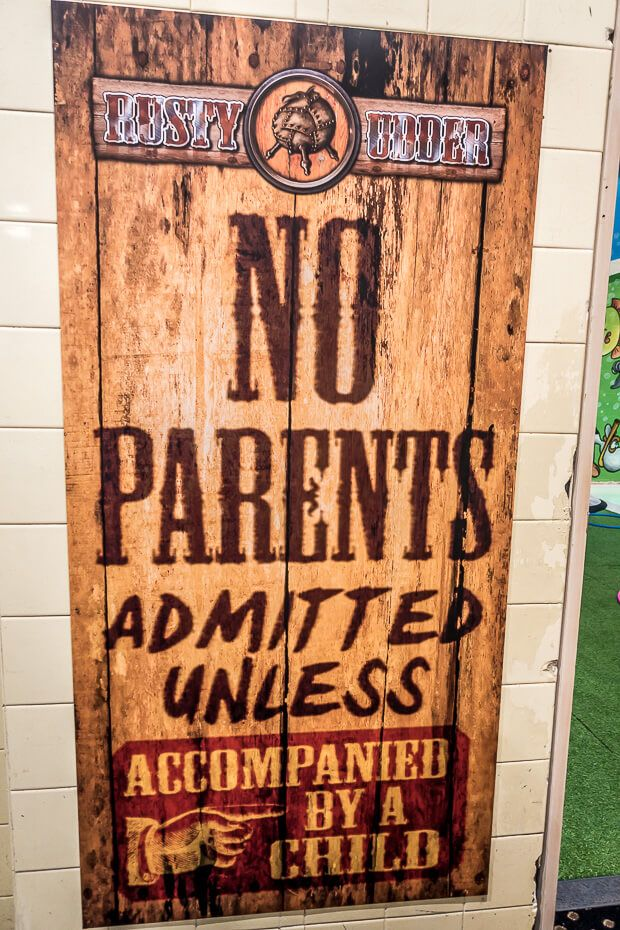 Playroom - no parents allowed unless accompanied by a child.